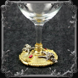 Baphomet Wine Glass - Gold-Plated with Red Stones