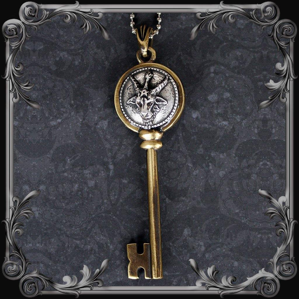 Baphomet Key Pendant - Antique Brass Finish