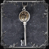 Baphomet Key Pendant - Partial Antique Brass Finish