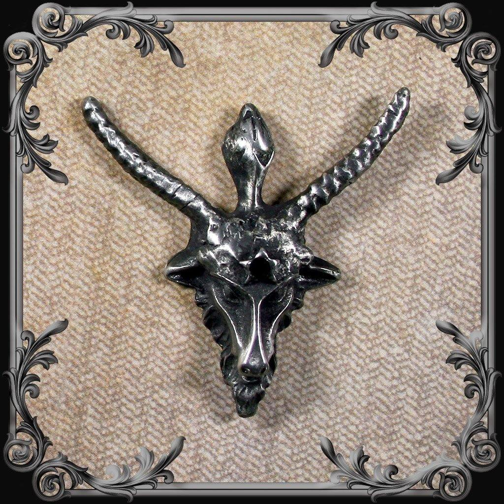Baphomet Lapel Pin with Black Rhinestone