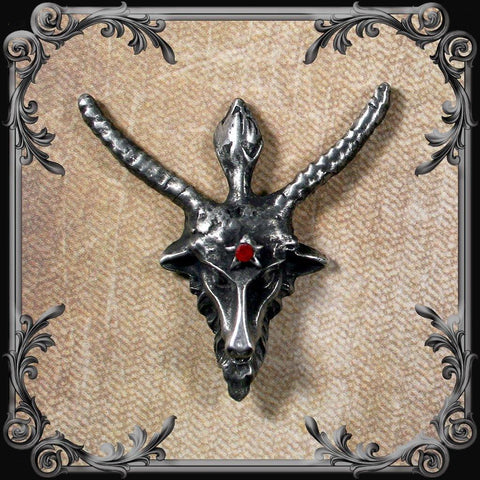 Baphomet Lapel Pin with Red Rhinestone