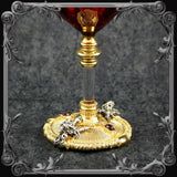 Baphomet Red Wine Glass - Gold-Plated with Black & Red Stones