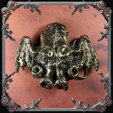 Cthulhu Belt Buckle - Antique Brass Finish