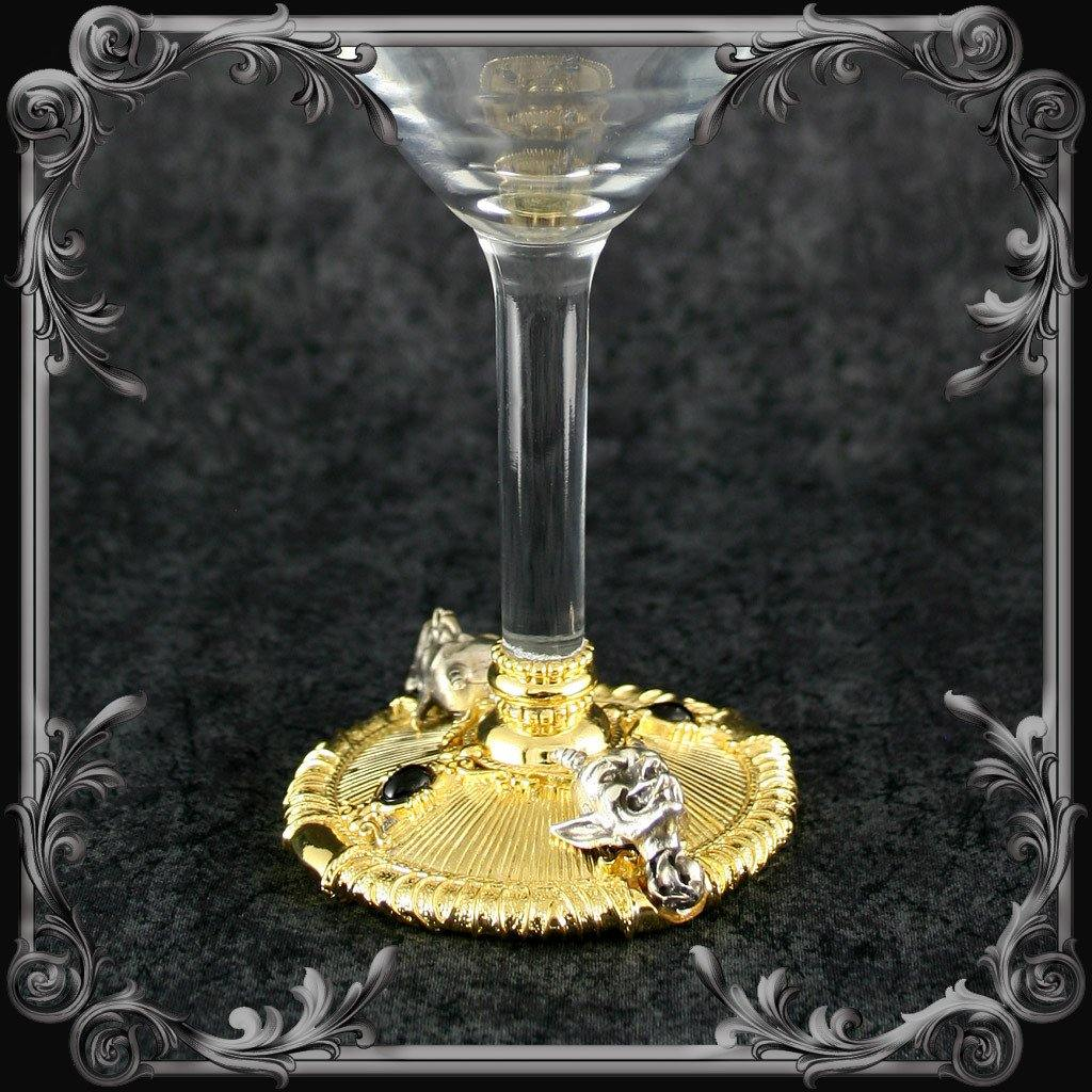 Devil Wine Glass - Gold-Plated with Black Stones