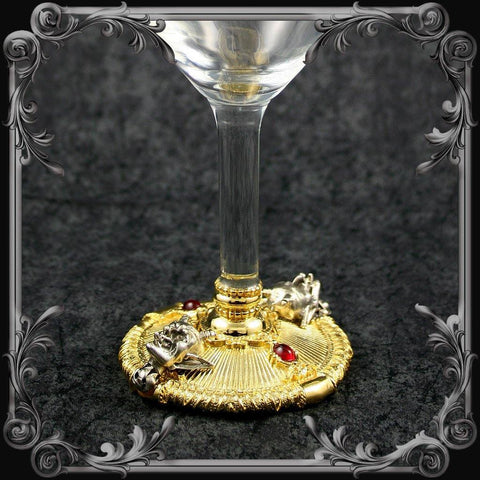 Devil Wine Glass - Gold-Plated with Red Stones