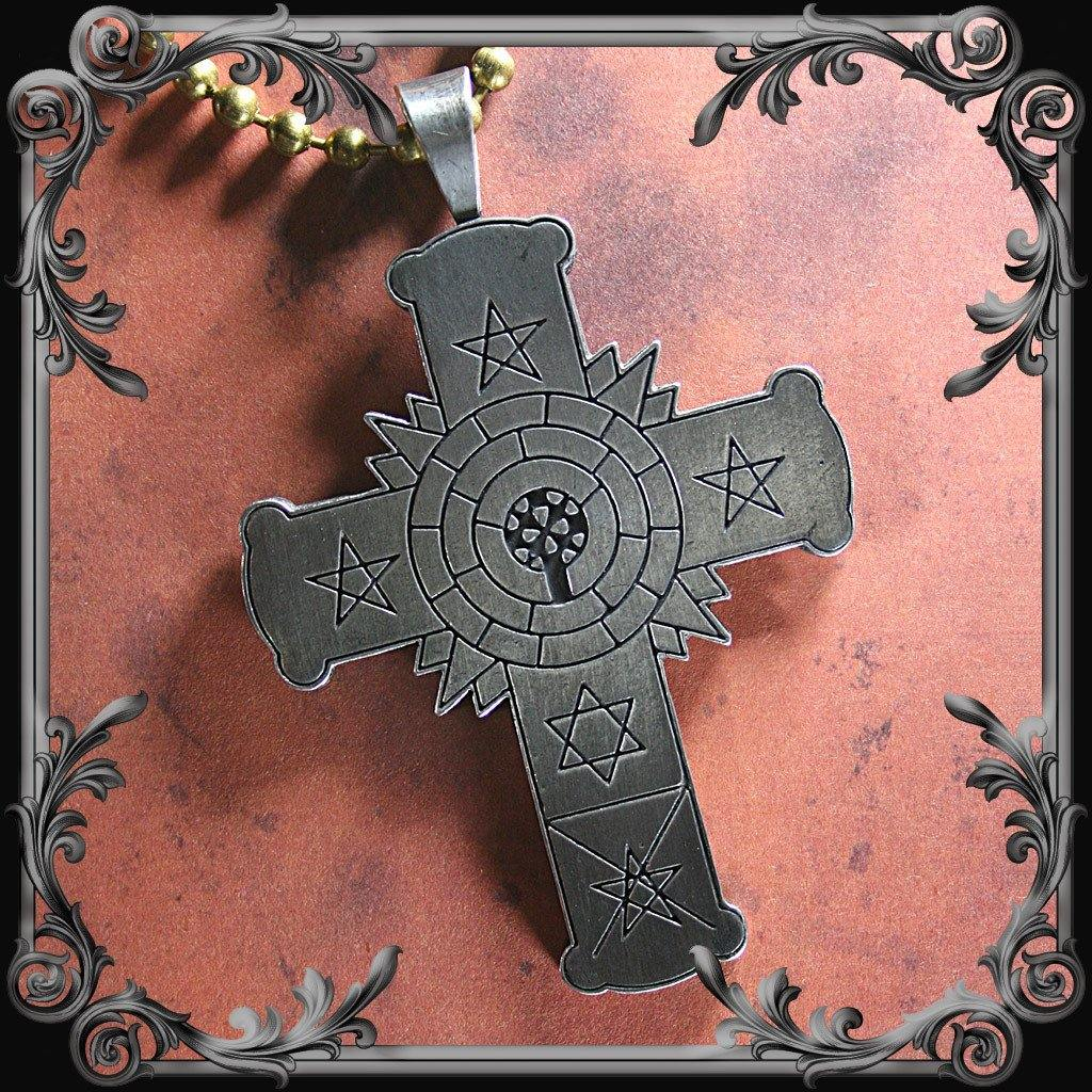 Rose Cross Necklace with Black Inlay