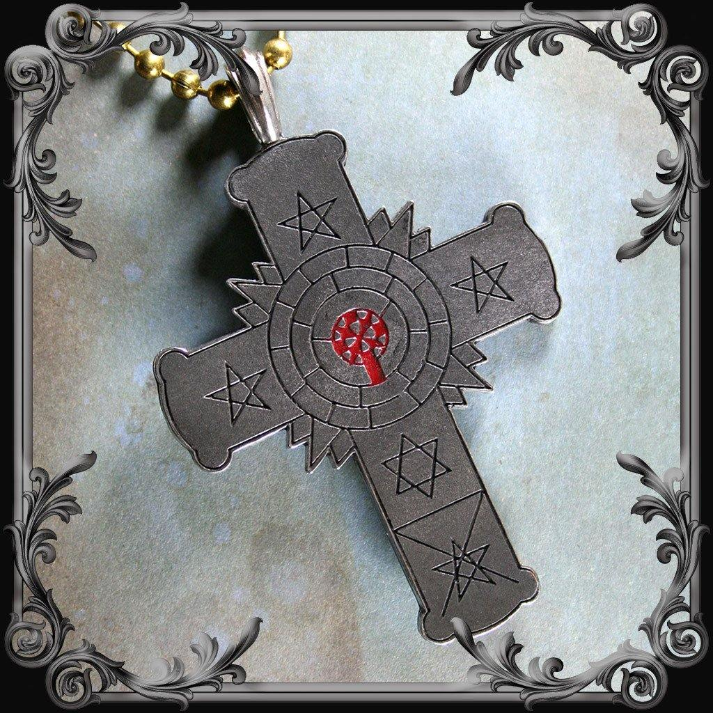 Rose Cross Necklace with Red Inlay