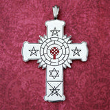 Rose Cross Necklace Silver-Plated with Red Inlay