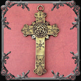 Rose Cross Plaque - Antique Brass Finish