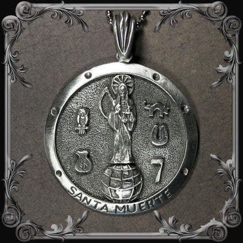 Santa Muerte Medallion Necklace - Large