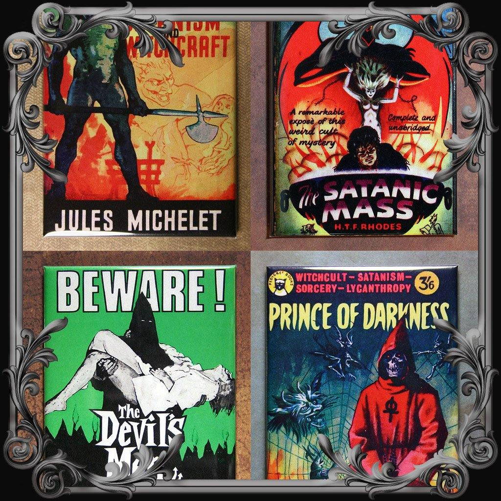 Set of 4 Satanic Themed Fridge Magnets