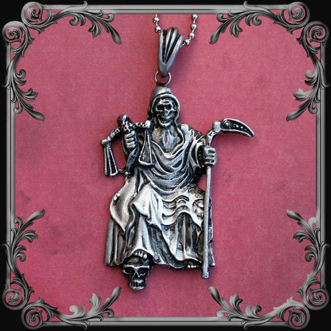 Santa Muerte Seated Necklace