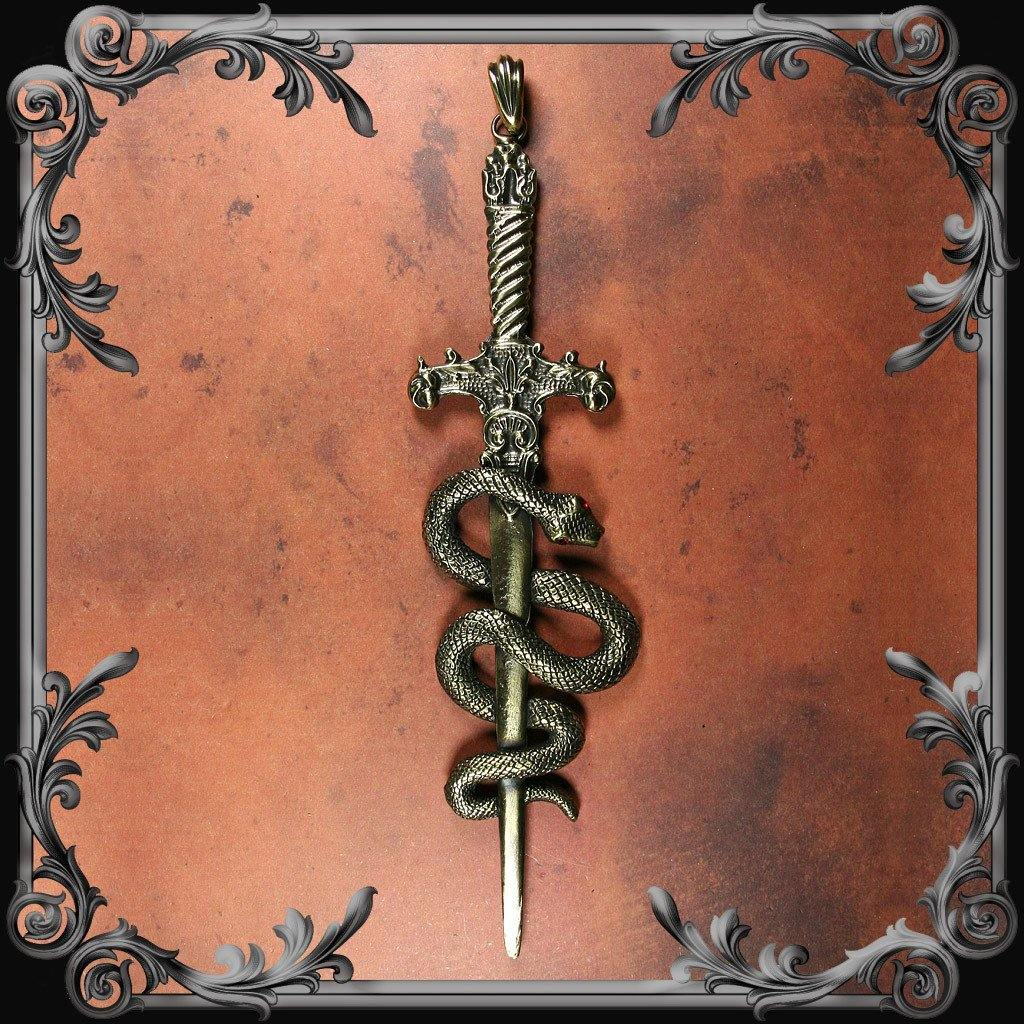 Sword and Serpent Pendant - Red Rhinestones - Antique Brass Finish