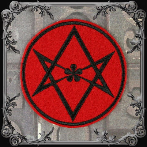 Unicursal Hexagram Patch - Red