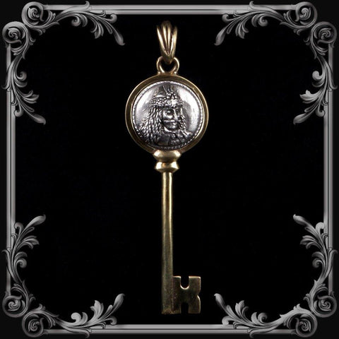 Vlad Dracula Key Pendant - Antique Brass Finish