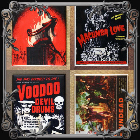 Set of 4 Voodoo Themed Fridge Magnets