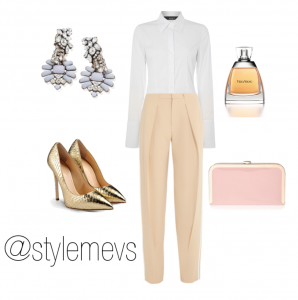 Go from day to night - Shirt (Oui), Shoes (Guiseppe Zanotti), Bag (Vintage Styler), Earrings (Vintage Styler), Perfume (Vera Wang)