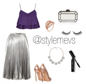 Mix Metallics for a dinner date - Skirt (Michael Kors), Top (River Island), Shoes (Casadei Barbarella), Jewellery (Vintage Styler), Bag (Vintage Styler)