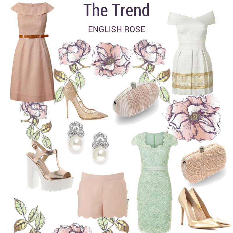 Blush Dress (Orla Keily £147), Lace Shoes (Jimmy Choo £489, Nude Bag (Vintage Styler £37), Cream Dress (Choies £39), Gold Sandals (Steve  Maden £65), Earrings (Vintage Styler £39), Shorts (Lipsy, £28), Green Dress (Jacques Vert £59), Pearl Bag (Vintage Styler £42), Gold Shoes (Mytheresa £530)