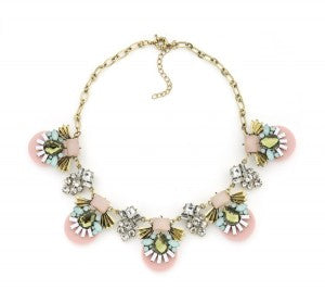Etta Pink Deco Statement Necklace by Lydia Bright
