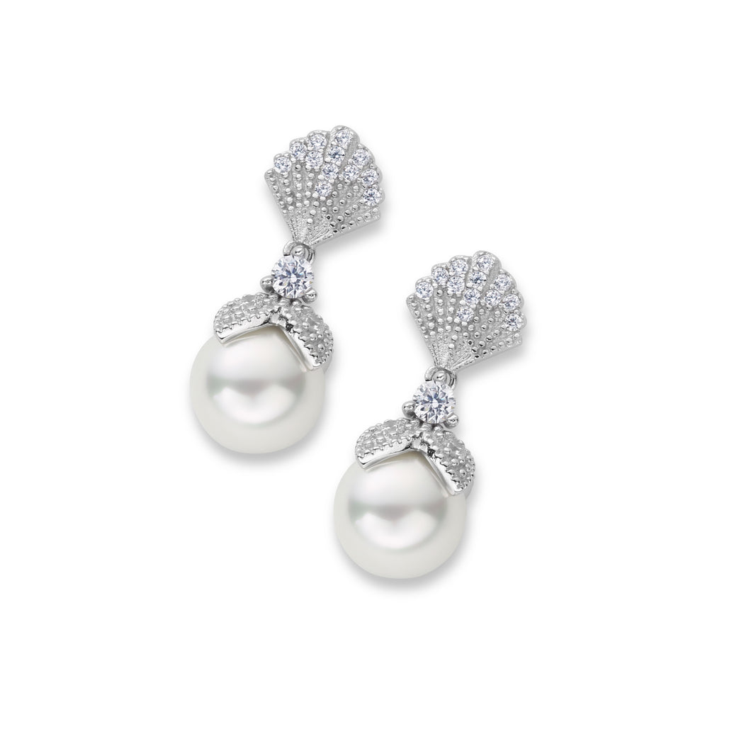 Alice Pearl Drop Vintage Inspired Bridal Earrings in Silver and Elegant Vintage Pearl