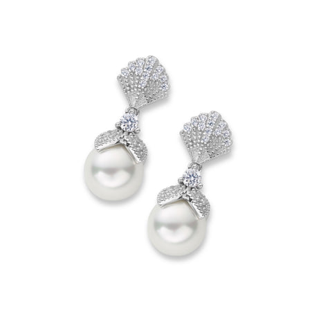Alice Pearl Drop Earrings in Silver and Elegant Vintage Pearl