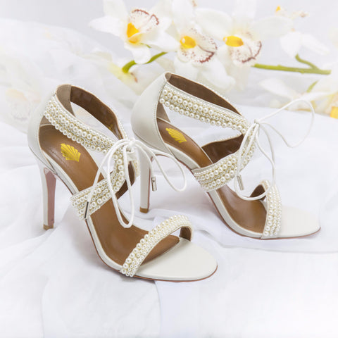 Maisie Ivory Vintage Inspired Bridal Pearl Sandals