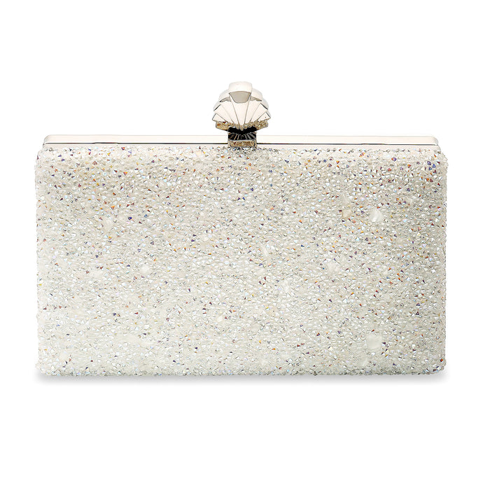 Frankie Vintage Inspired Bridal Clutch Bag in Iridescent Clear Crystal Embellishment