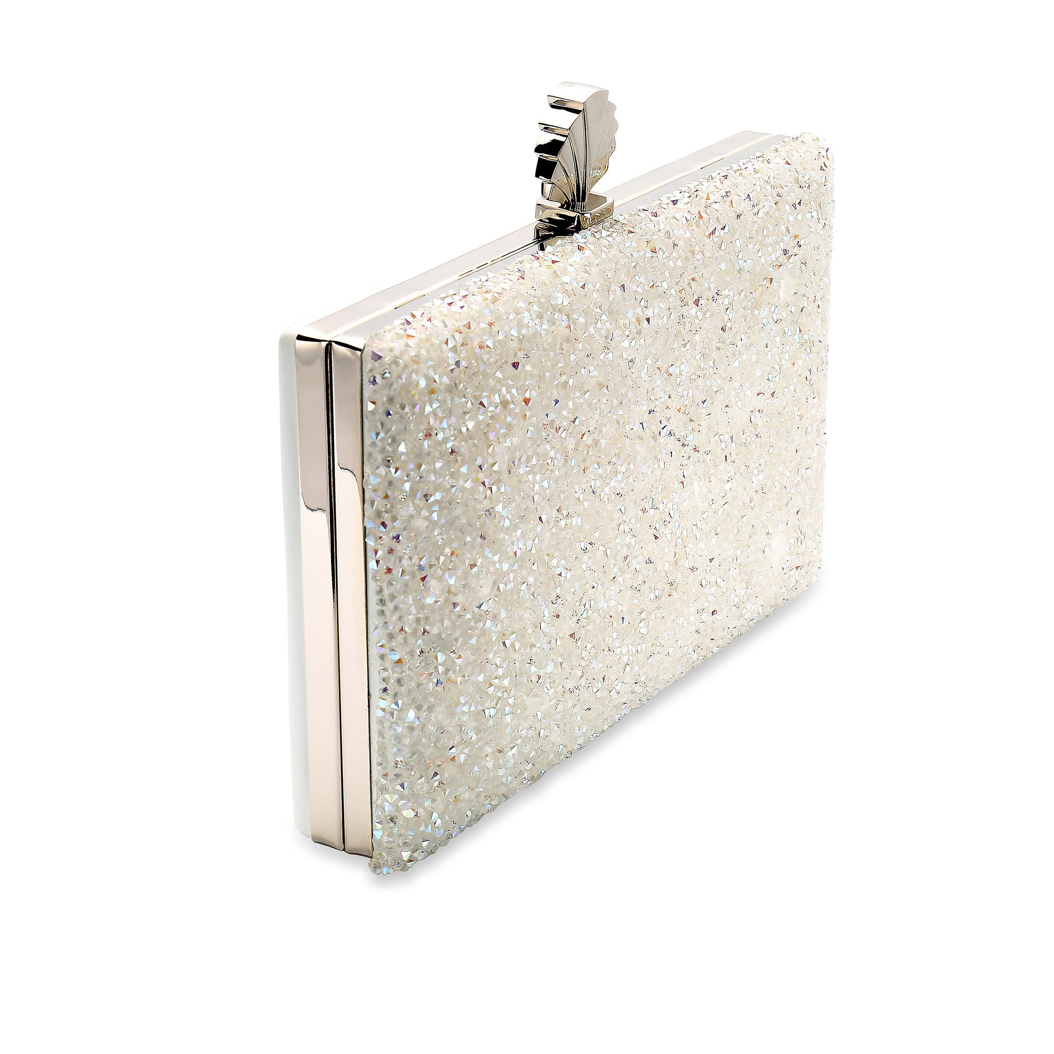 Frankie Clutch Bag in Iridescent Clear Crystal Embellishment