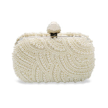 Eva Vintage Inspired Bridal Clutch Bag in Ivory Art Deco Pearl