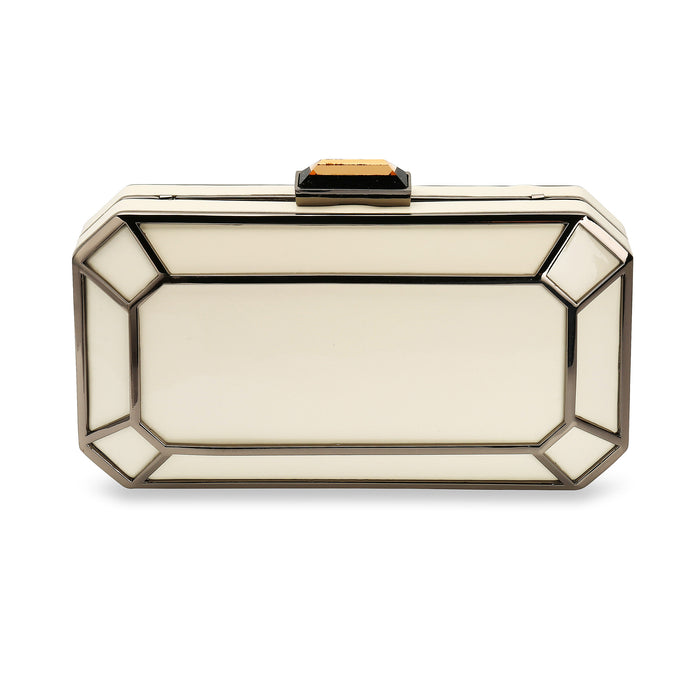 Amber 1920s Style Vintage Inspired Deco Clutch Bag in Ivory