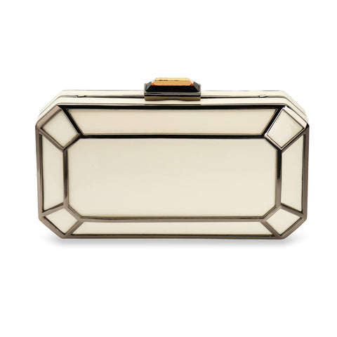 Amber 1920s Style Deco Clutch Bag in Ivory
