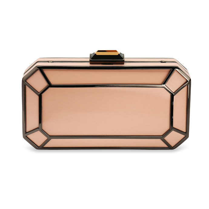 Amber 1920s Style Vintage Inspired Deco Clutch in Dusky Pink