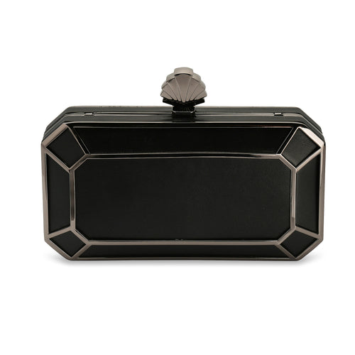 Amber 1920s Style Deco Vintage Inspired Clutch Bag in Black