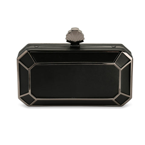 Amber 1920s Style Deco Clutch Bag in Black