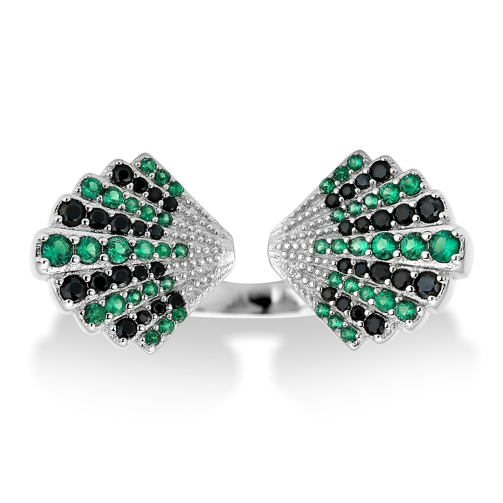 Della Vintage Inspired Ring in Art Deco Double Fan and Crystal Detail