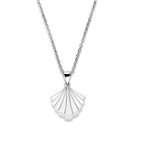 Deco Signature Fan Pendant Necklace in Silver