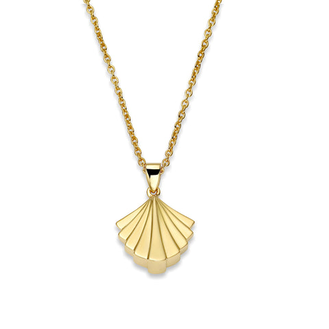 Deco Signature Fan Pendant Necklace in Gold