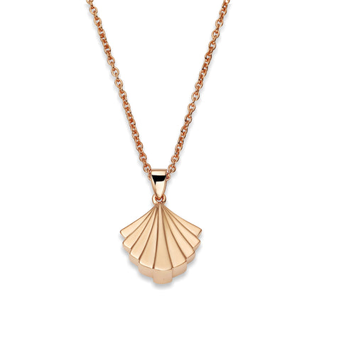 Deco Signature Fan Pendant Necklace in Rose Gold