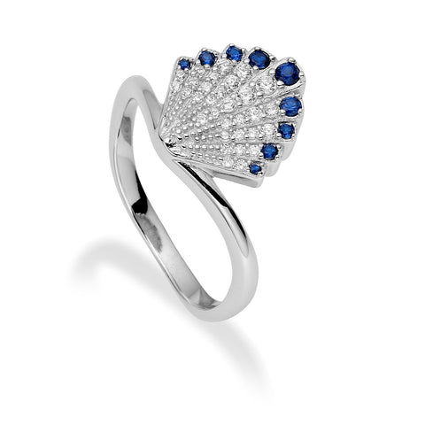 Alma Vintage Inspired Ring in Art Deco Fan and Sapphire Crystal Detail