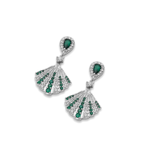 Isabella Vintage Inspired Earrings in Emerald Green Art Deco Drop