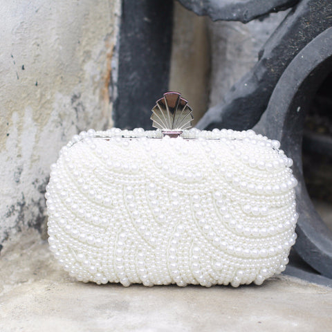Eva Clutch Bag in Ivory Art Deco Pearl