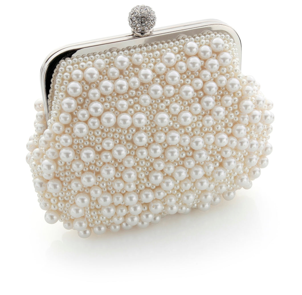 May Vintage Inspired Bridal Clutch Bag in Ivory Pearl and Crystal Clasp