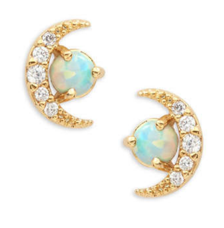 Opal Moon Earrings