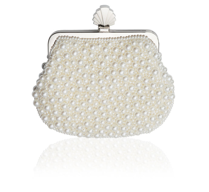 May Vintage Inspired Bridal Clutch Bag in Vintage Style Ivory Pearl