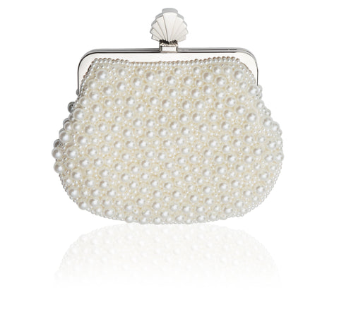 May Clutch Bag in Vintage Style Ivory Pearl