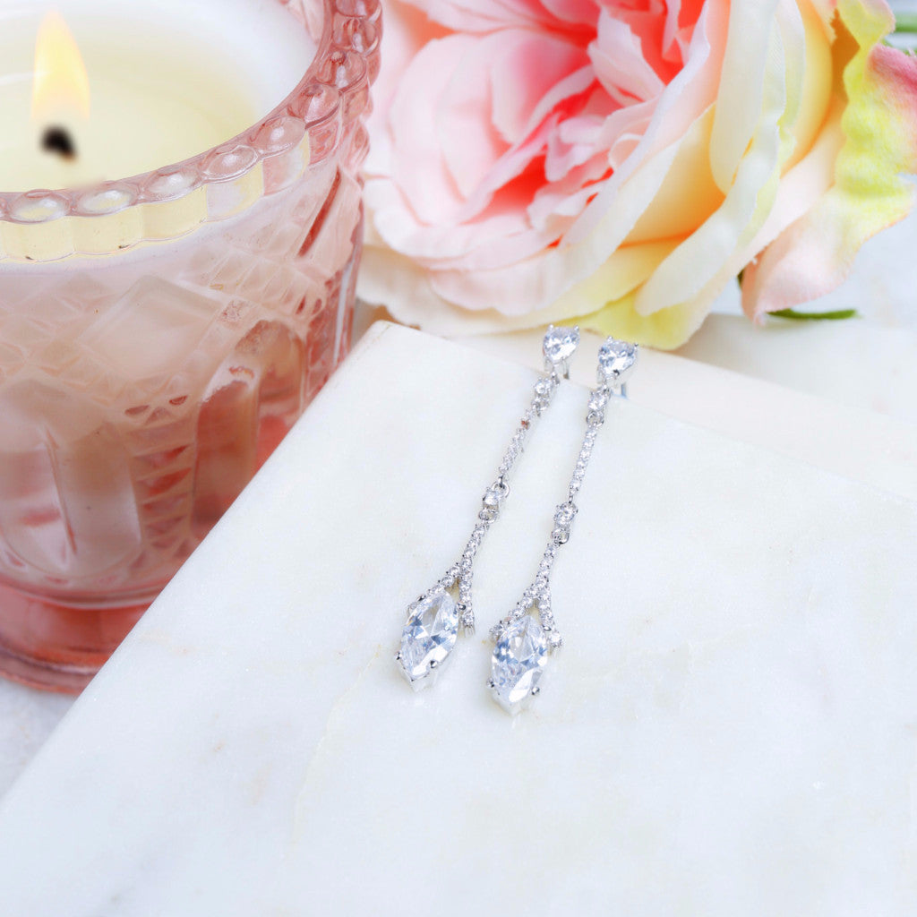 Eliza Crystal Drop Wedding Earrings