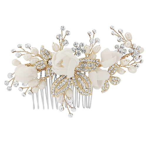 Amelie Vintage Flower and Freshwater Pearl Comb in Gold
