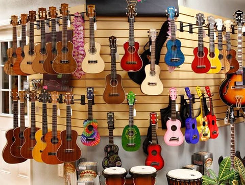 Display de ukuleles