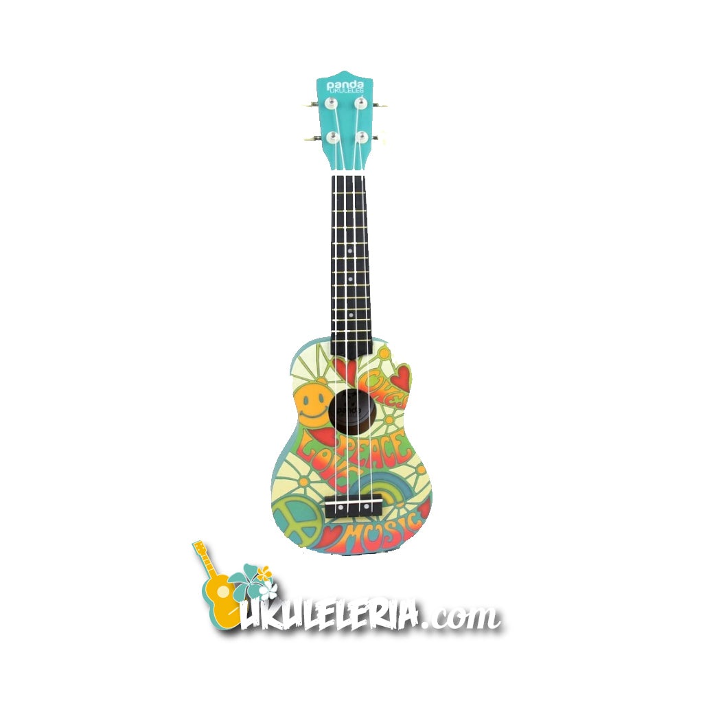 AMAHI Ukulele Soprano Panda Design Peace And Love